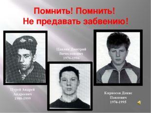 Помнить! Помнить! Не предавать забвению! Кирносов Денис Павлович 1974-1995 Пу