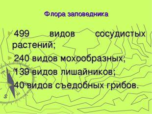 499 видов сосудистых растений; 240 видов мохообразных; 139 видов лишайников;