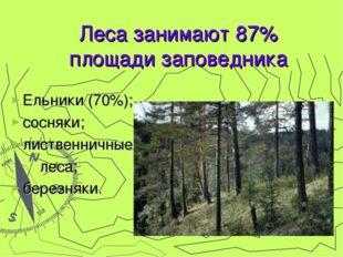 Ельники (70%); сосняки; лиственничные леса; березняки. Леса занимают 87% площ