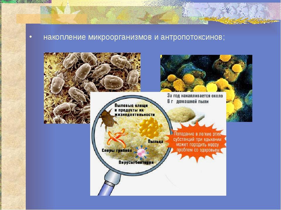 накопление микроорганизмов и антропотоксинов;