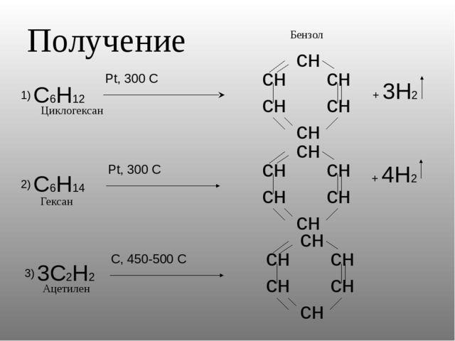 Получение Бензол Циклогексан Гексан Ацетилен 2) 3)