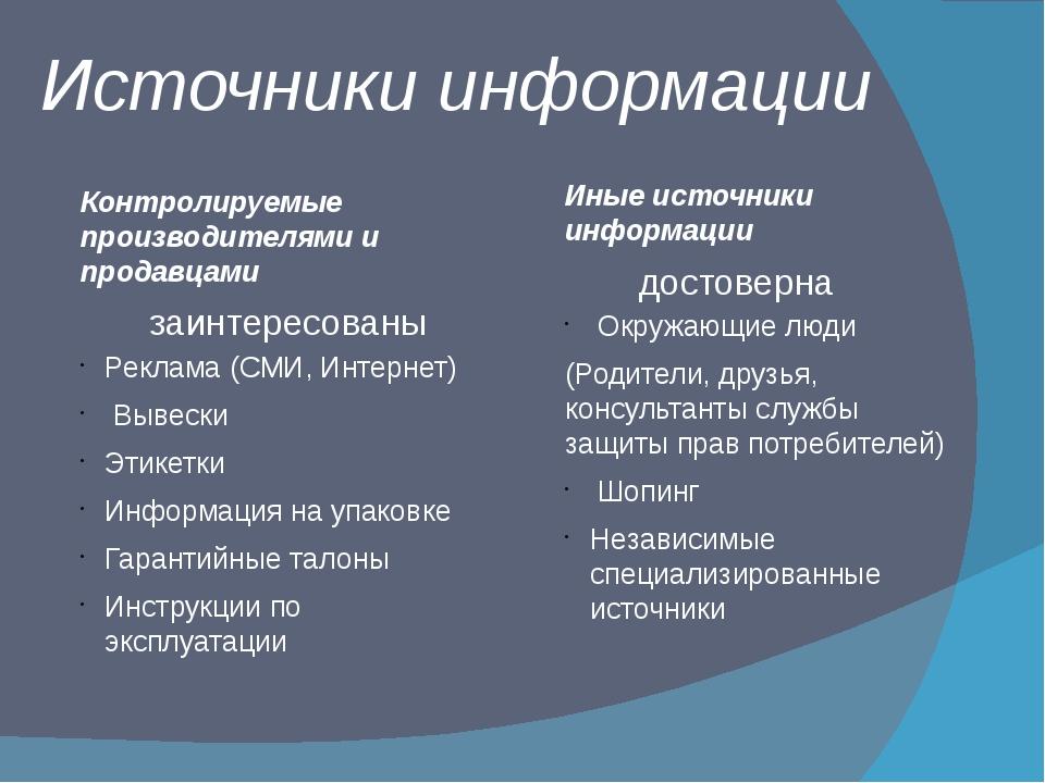 Контролируемые производителями и продавцами Реклама (СМИ, Интернет) Вывески Э...