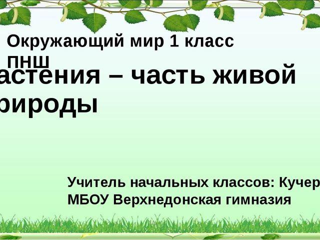 Растения – часть живой природы Окружающий мир 1 класс ПНШ Учитель начальных к...