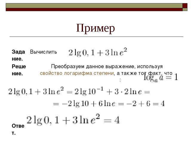 Пример Задание.Вычислить  Решение.Преобразуем...