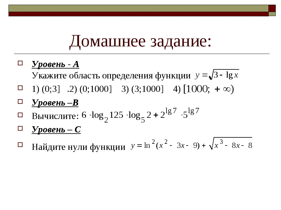 Домашнее задание: Уровень - А Укажите область определения функции 1) (0;3] .2...