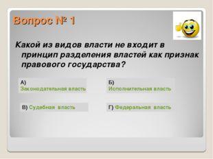 Вопрос № 1 Какой из видов власти не входит в принцип разделения властей как п