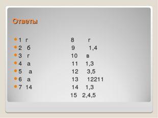 Ответы 1 г 8 г 2 б 9 1,4 3 г 10 в 4 а 11 1,3 5 а 12 3,5 6 а 13 12211 7 14 14