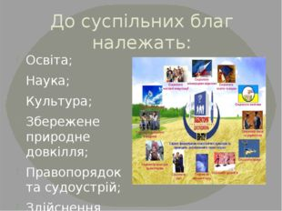 До суспільних благ належать: Освіта; Наука; Культура; Збережене природне довк