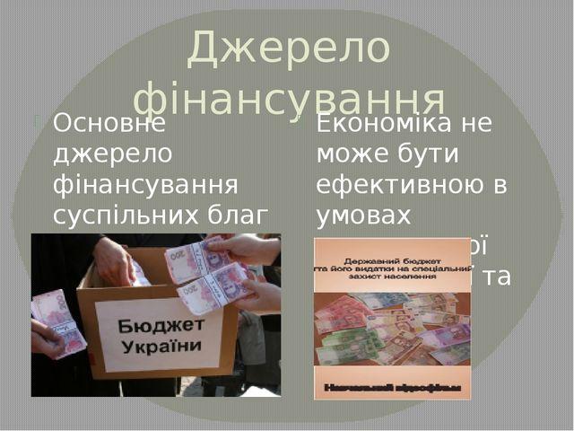 Джерело фінансування Основне джерело фінансування суспільних благ – державний...