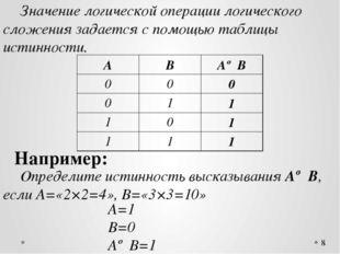 Значение логической операции логического сложения задается с помощью таблиц