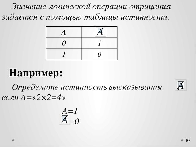 Значение логической операции отрицания задается с помощью таблицы истинност...