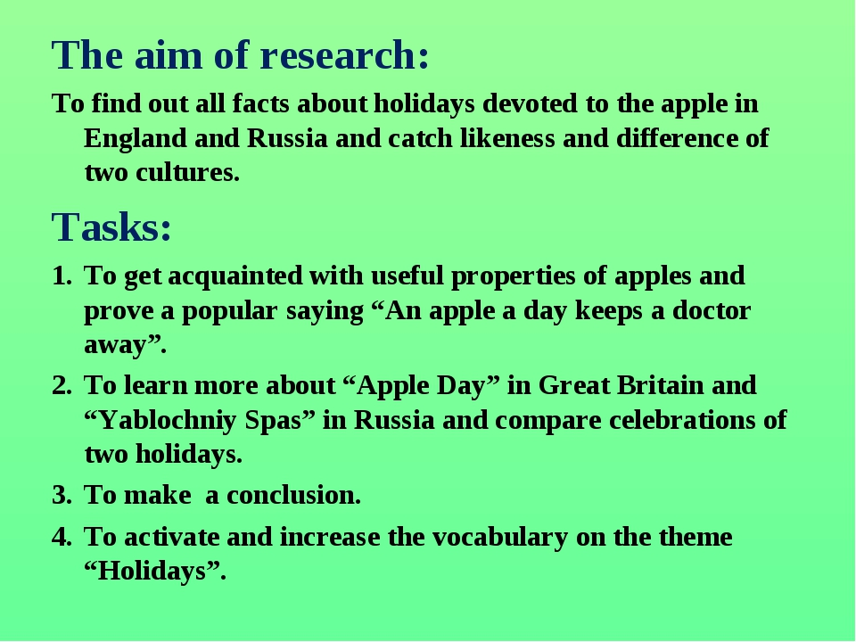 The aim of research: To find out all facts about holidays devoted to the appl...