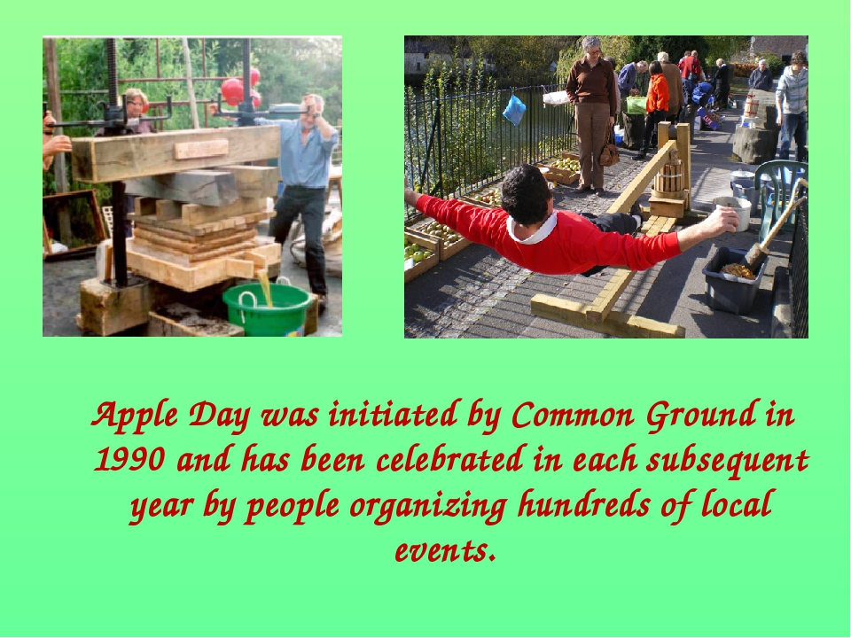 Apple Day was initiated by Common Ground in 1990 and has been celebrated in...