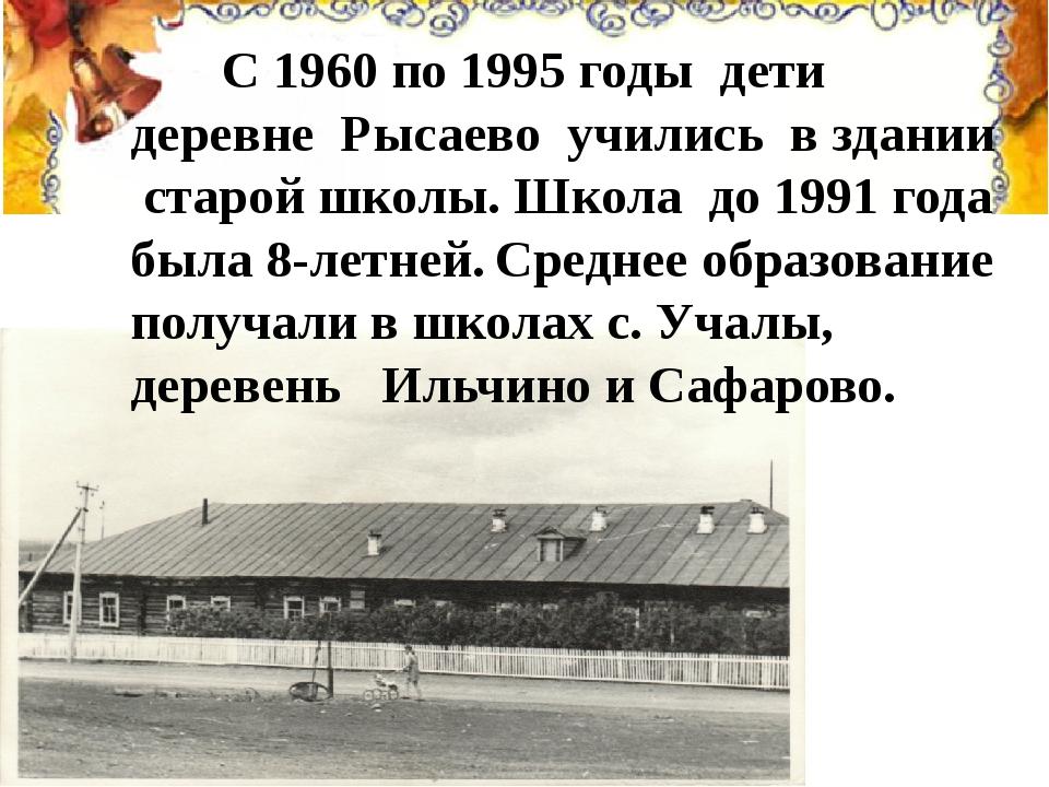 С 1960 по 1995 годы дети деревне Рысаево учились в здании старой школы. Школ...