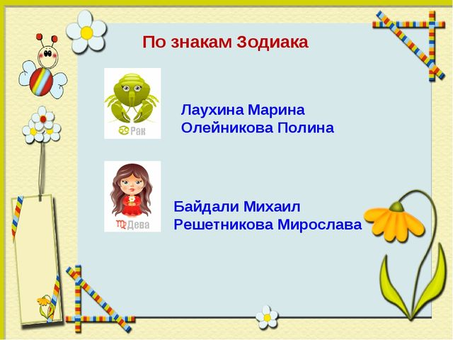 Байдали Михаил Решетникова Мирослава По знакам Зодиака Лаухина Марина Олейни...