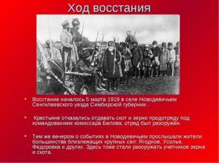 Ход восстания Восстание началось 5 марта 1919 в селе Новодевичьем Сенгилеевск