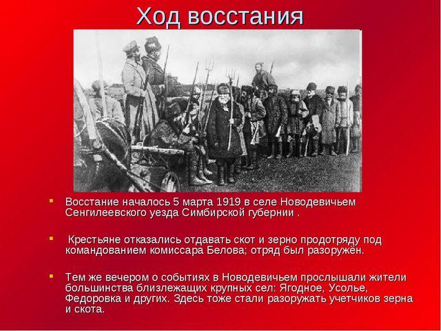 Ход восстания Восстание началось 5 марта 1919 в селе Новодевичьем Сенгилеевск...