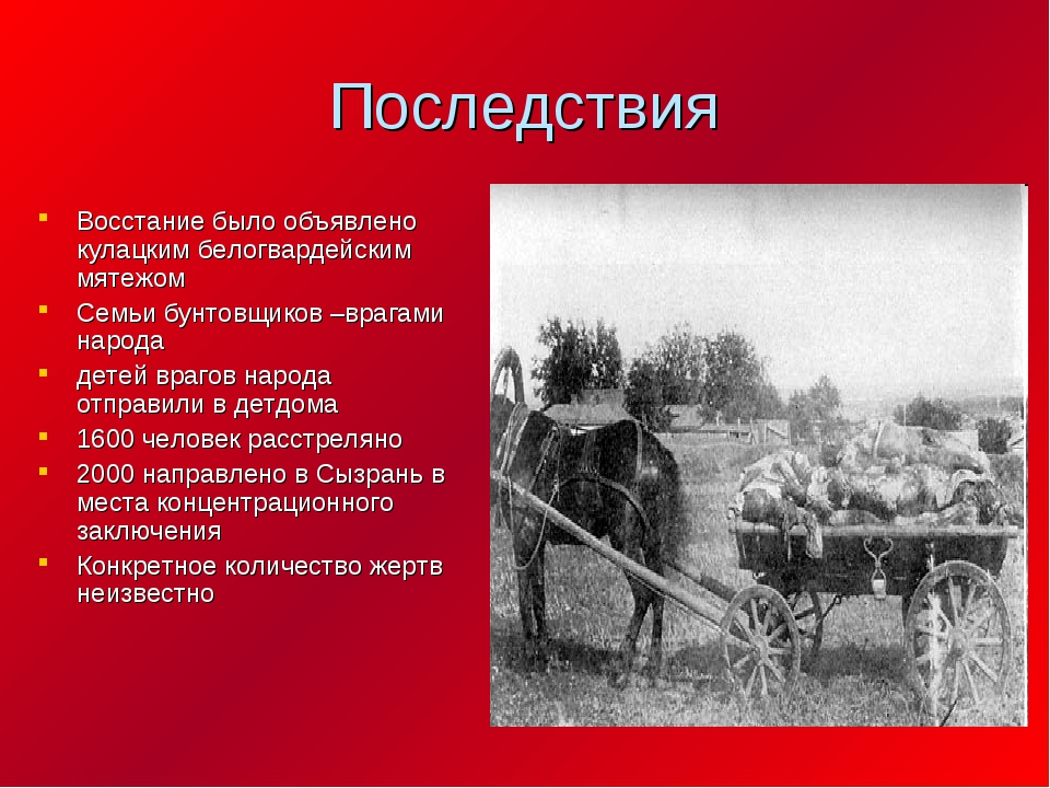 Последствия Восстание было объявлено кулацким белогвардейским мятежом Семьи б...