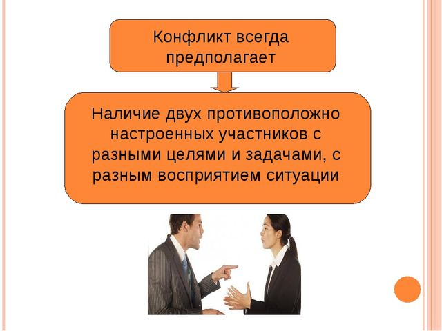Конфликт всегда предполагает Наличие двух противоположно настроенных участник...