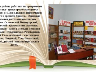 Библиотеки района работают по программам «Библиотека - центр продолжающегося