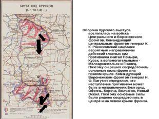 Оборона Курского выступа возлагалась на войска Центрального и Воронежского фр