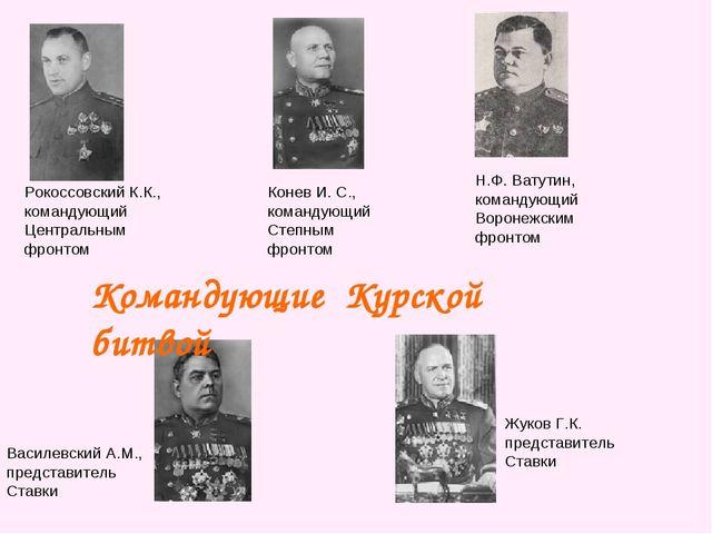 Рокоссовский К.К., командующий Центральным фронтом Конев И. С., командующий С...
