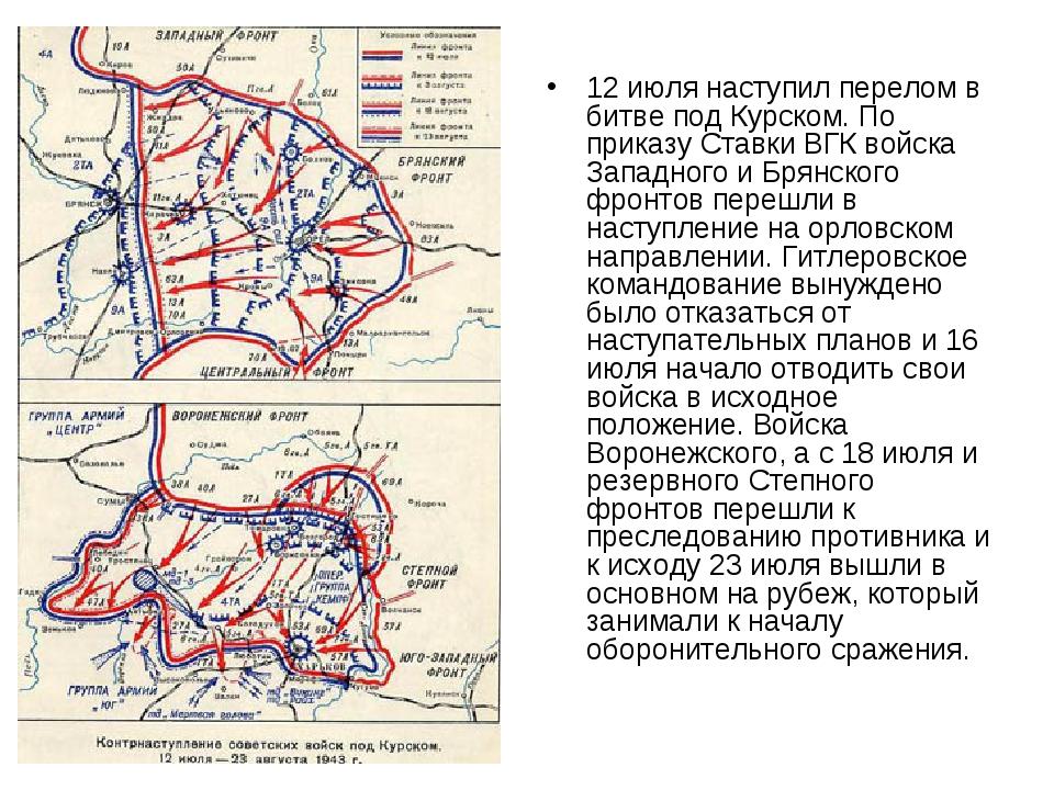 12 июля наступил перелом в битве под Курском. По приказу Ставки ВГК войска За...