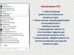 Назначение ПО: обеспечение работоспособности компьютера; облегчение взаимодей