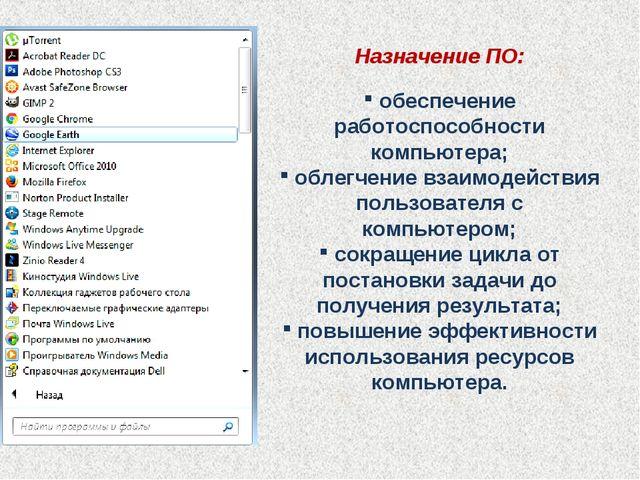Назначение ПО: обеспечение работоспособности компьютера; облегчение взаимодей...