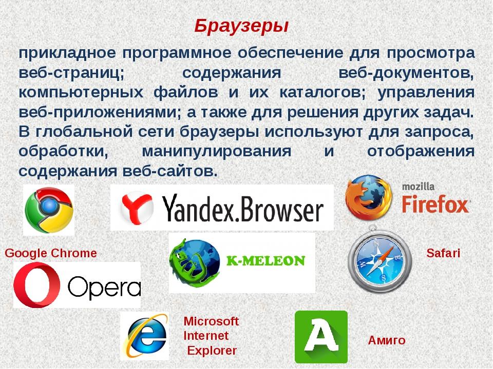 Браузеры прикладное программное обеспечение для просмотра веб-страниц; содерж...