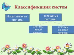 Искусственные системы Природные системы Системы живой природы Системы неживой