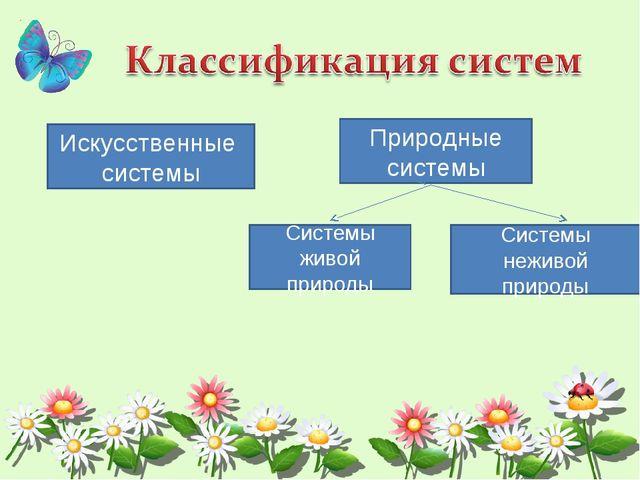 Искусственные системы Природные системы Системы живой природы Системы неживой...