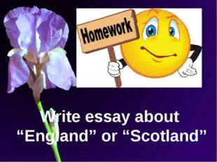 "Write essay about ""England"" or ""Scotland"""