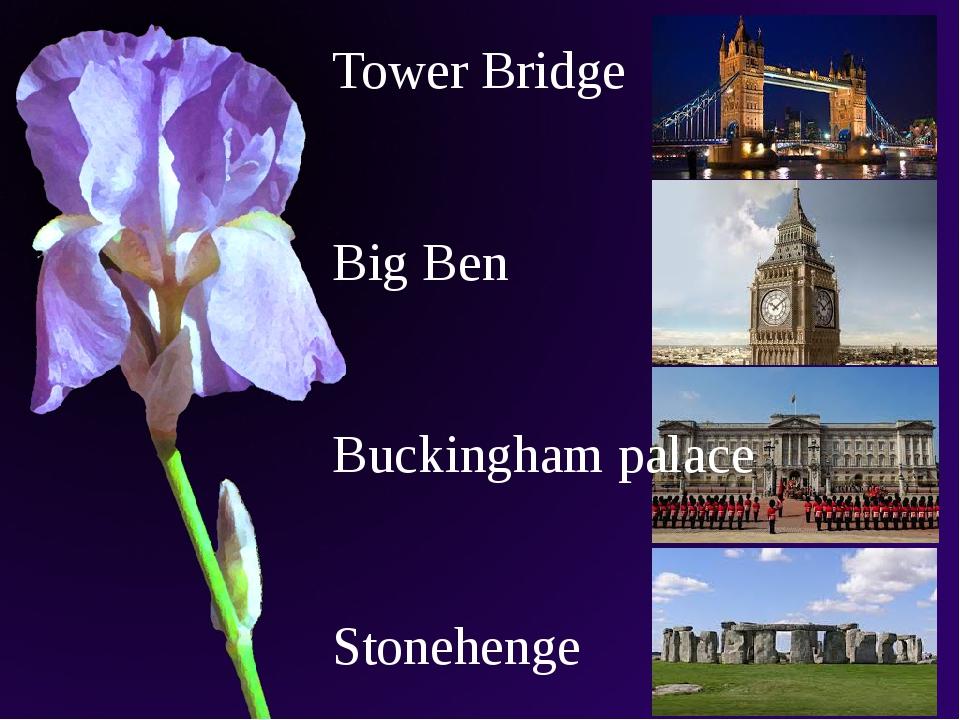 Tower Bridge Big Ben Buckingham palace Stonehenge
