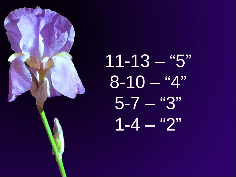 "11-13 – ""5"" 8-10 – ""4"" 5-7 – ""3"" 1-4 – ""2"""