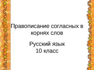Правописание согласных в корнях слов Русский язык 10 класс
