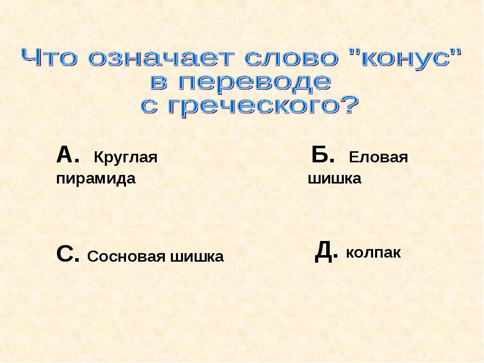 А. Круглая пирамида Б. Еловая шишка С. Сосновая шишка Д. колпак