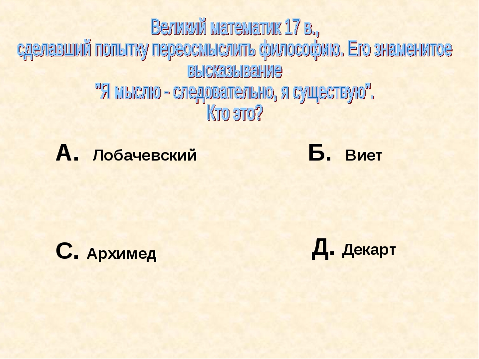 А. Лобачевский Б. Виет С. Архимед Д. Декарт