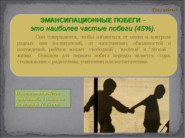 ЭМАНСИПАЦИОННЫЕ ПОБЕГИ – это наиболее частые побеги (45%). Они совер...