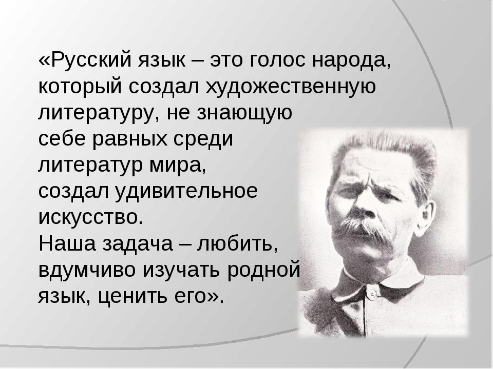 «Русский язык – это голос народа, который создал художественную литературу, н...