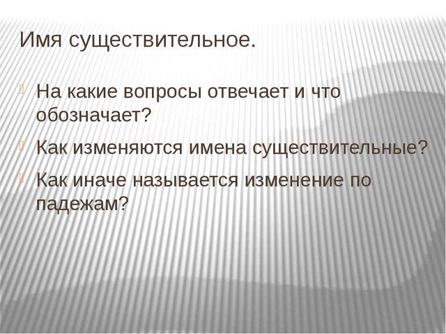 Имя существительное. На какие вопросы отвечает и что обозначает? Как изменяют...
