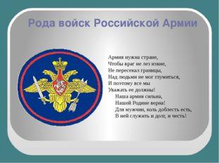 Рода войск Российской Армии Армия нужна стране, Чтобы враг не лез извне, Не