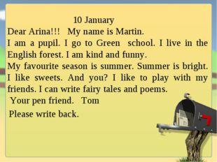 10 January Dear Arina!!! My name is Martin. I am a pupil. I go to Green scho