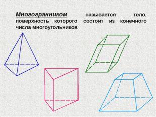 Многогранником называется тело, поверхность которого состоит из конечного чис