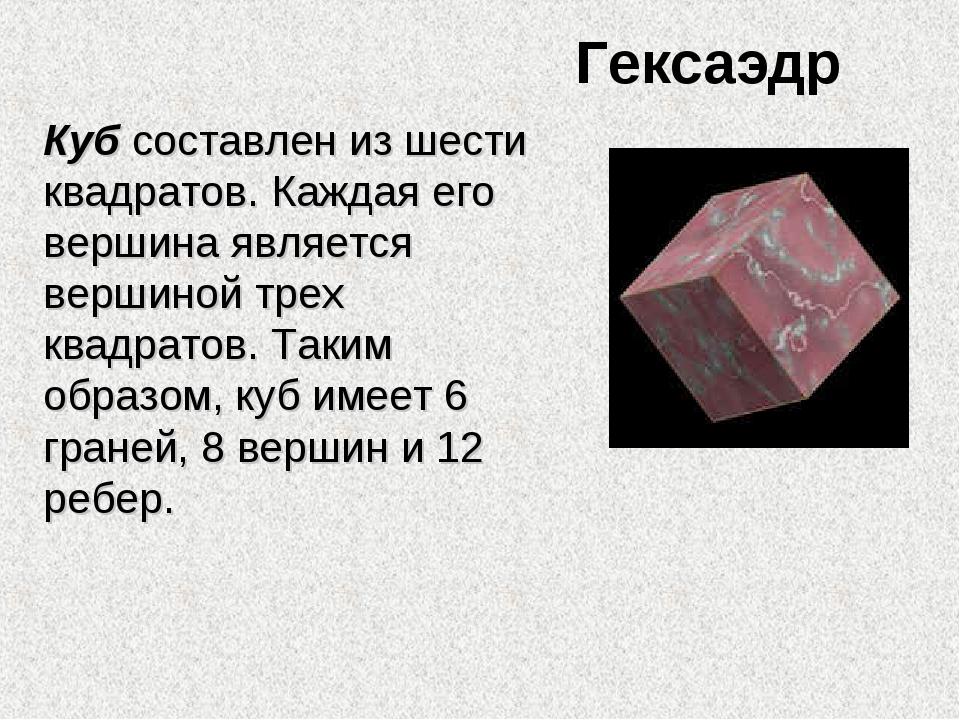 Гексаэдр Куб составлен из шести квадратов. Каждая его вершина является вершин...