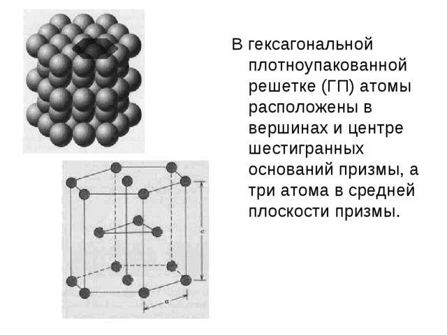 В гексагональной плотноупакованной решетке (ГП) атомы расположены в вершинах...