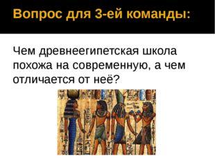 Вопрос для 3-ей команды: Чем древнеегипетская школа похожа на современную, а