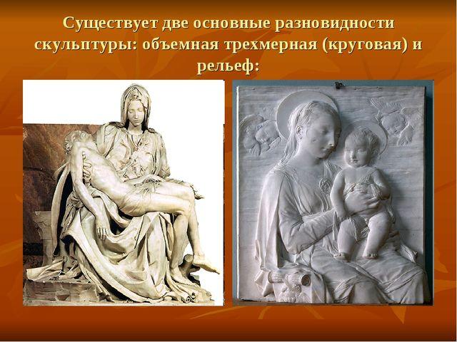 Существует две основные разновидности скульптуры: объемная трехмерная (кругов...