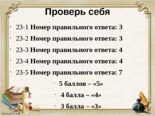 Проверь себя 23-1 Номер правильного ответа: 3 23-2 Номер правильного ответа: