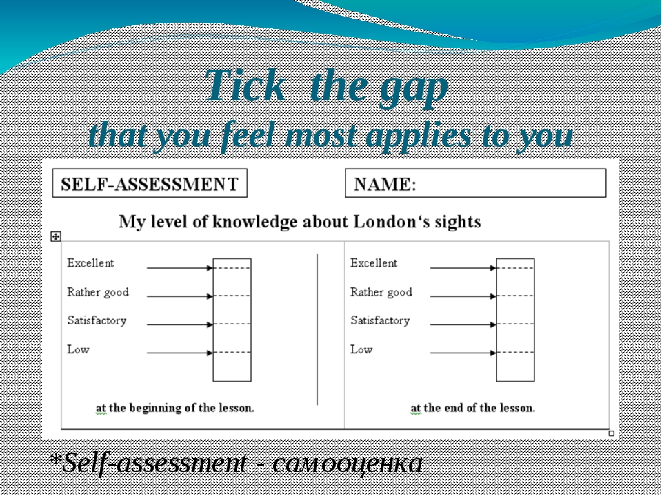Tick the gap that you feel most applies to you *Self-assessment - самооценка